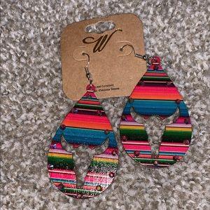 Serape longhorn teardrop earrings